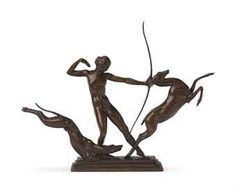 A RUSSIAN PATINATED BRONZE ART DECO SCULPTURE OF 'DIANA THE HUNTRESS WITH HOUND AND STAG'  -  BY GLEB DERUJINSKY, CIRCA 1925 - at auction - Christies 17 - 18 October, 2012 - New York