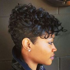 See 101 AMAZING short hairstyles for black women & natural hairstyles you can try. If you've done a big chop or want cute short haircuts for black women, you. Cute Short Natural Hairstyles, Cute Short Haircuts, Short Curly Hair, Short Hair Cuts, Curly Hair Styles, Natural Hair Styles, Curly Pixie, Black Hairstyles, Hairstyles 2016