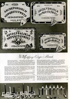 Selection of Ouija boards, 1944 Wards Christmas Catalog
