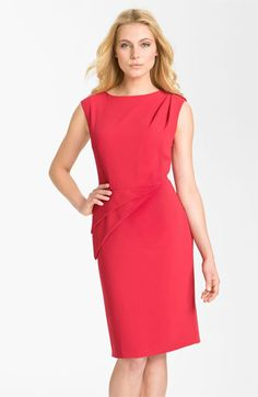 Adrianna Papell Asymmetrical Peplum Crepe Sheath Dress available at Nordstrom