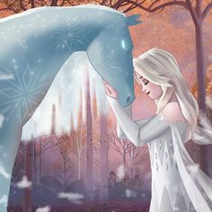 Elsa and Nokk the Water Spirit Horse in the Enchanted Forest from Frozen 2 Disney Pixar, Arte Disney, Disney Fan Art, Disney And Dreamworks, Disney Animation, Disney Movies, Princesa Disney Frozen, Disney Princess Frozen, Disney Princess Drawings