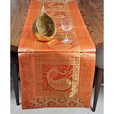 Dining Table Runner Orange Color 60 X 16 Inches
