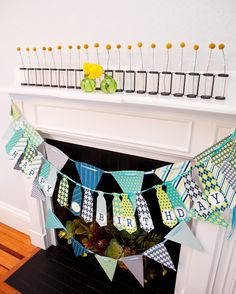Perfect banner and I love the individual flowers #mustache #birthday #banner