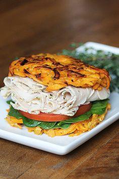 A whole new way to sandwich: Dietz & Watson Originals Herbed Turkey between two sweet potato patties.