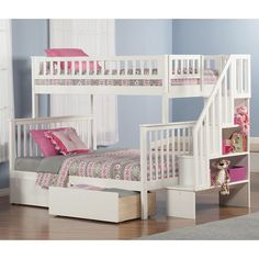 Atlantic Furniture Woodland Twin Over Full Bunk Bed with 2 Urban Lifestyle Bed Drawers and Staircase & Reviews | Wayfair