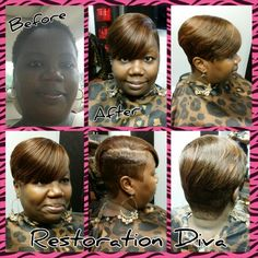 Before& After,  Short Hair, Short Styles,  Brown hair,  Highlights, Quick Weave,  www.restorationdiva.com