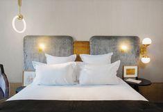 Détail tête de lit de l'hôtel Handsome par les décoratrices Desjeux Delaye, Paris, 2016