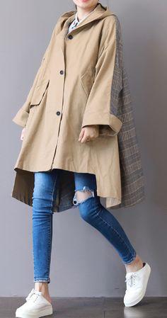 New khaki Coats plus size hooded low high design Coat boutique patchwork Winter trench coat Raincoat Outfit, Mens Raincoat, Stylish Raincoats, Raincoats For Women, Hijab Fashion, Fashion Outfits, Womens Fashion, Outfits Pantalon Negro, High Design