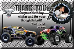 Monster Truck Jam Thank You Card Birthday 4x6 or 5x7