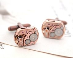 Omega Watch Copper Cufflinks  Absolutely exclusive authentic Omega watch cuff link. Swiss Luxury. Anyone who knows Omega watches - will