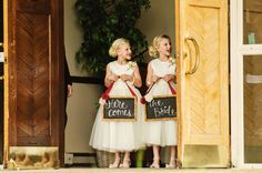 Here comes the bride signs #chalkboardsign #herecomesthebride #flowergirls