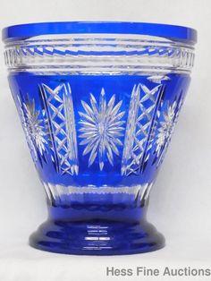 Stunning Massive Polish Crystal Art Glass Cobalt Blue Cut to Clear Pristine Vase