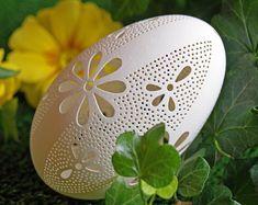 Eggshell of Polish goose - handmade sculpted #25 - transparent easter carved egg ornament decoration unique gift pysanky ażurowa pisanka
