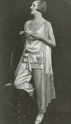 maudelynn:  Good Morning, everyone!! Morning Tea, Late 1920s Vintage Pajamas Photo Shoot by James Abbe