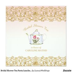 Bridal Shower Tea Party Luncheon Pink Gold Glitter