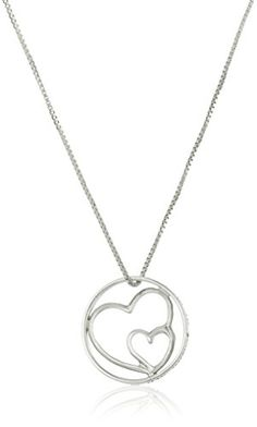 "Sterling Silver with Gold Flashed ""Mother and Daughters Are Joined In The Heart"" Pendant Necklace, 18″ #deals"