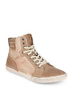 Joe's Jumps Suede-Panel High-Top Sneakers - Tan - Size 8
