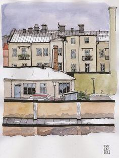 Urban Sketchers Eskilstuna (Sweden): At work!