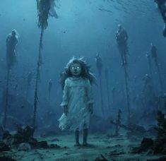 fantasy art Very great art pic.this is a wonderful underwater world and a little bit creepy but not too much - water. Magic lets get inspired Dark Fantasy Art, Fantasy Kunst, Fantasy Artwork, Creepy Images, Creepy Pictures, Arte Horror, Horror Art, Fantasy Creatures, Mythical Creatures