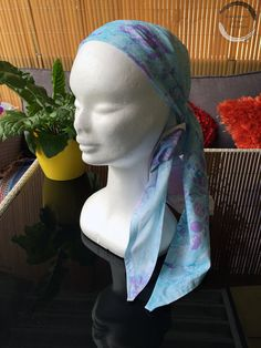 Head Scarf - Hand Marbled: Blues and Purple, Unique, Eye-Catching, Head wear, Neck Wear, Hair Wrap, Bandana, Classic 50's, Resort Wear by RaynbowCrowStudios on Etsy