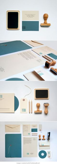 Corporate design letterhead letter business card logo envelop colors graphic minimal stamp, identity, turquoise  taupe