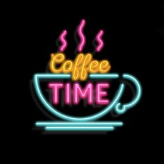 Coffee time, neon, coffee, time, neons, coffee shop, shop, shops, mug, light, lights,