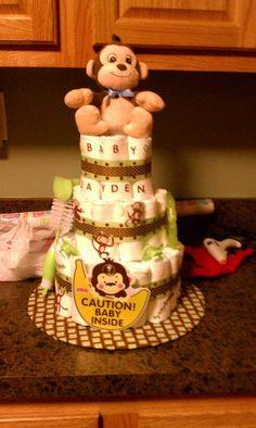 Monkey theme diaper cake