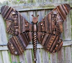 Giant Wooden Recycled Mixed Media Butterfly Art Using Wood Shims, Fence Post Caps, Repurposed and Recycled Pieces, Funky 5ft Butterfly | Lucy Designs