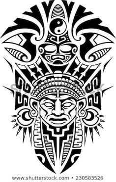awesome aztec tattoo esign full sleeve totem Plus Hawaiianisches Tattoo, Tattoo Motive, Arm Band Tattoo, Body Art Tattoos, Sleeve Tattoos, Totem Tattoo, Thai Tattoo, African Tribal Tattoos, Aztec Tribal Tattoos