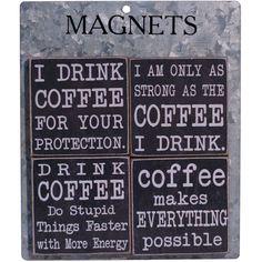American Mercantile 4 Piece Coffee' Wood Magnet Clip Set & Reviews   Wayfair