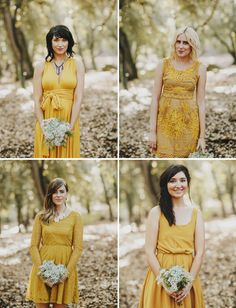 Mustard yellow bridesmaid dresses for this woodland mountain wedding, complemented by a gorgeous Maggie Sottero wedding dress.