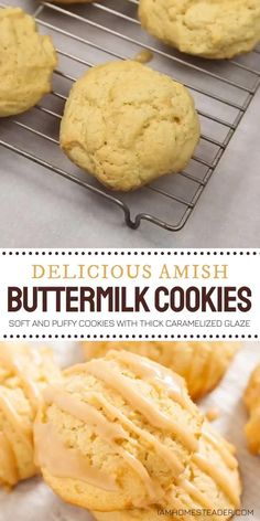These Amish Buttermilk Cookies are a must-have for back to school season! Drizzled with a thick caramelized glaze, this soft and puffy treats will go so fast. It's a good thing each batch of this recipe makes nearly 50 pieces each! Enjoy them as a snack or dessert! Amish Recipes, Easy Cookie Recipes, Chili Recipes, Baking Recipes, Sweet Recipes, Keto Recipes, Dessert Recipes, Dinner Recipes, Cookie Desserts