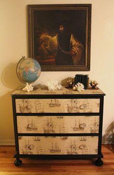 Vintage Nautical  Dresser by LaVantteHome on Etsy,