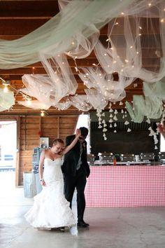 tulle & string lights ceiling :  wedding barn decor diy green reception rustic vintage decor tulle white white lights Tulle Ceiling