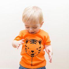 Tiger Balloon short sleeved kids t-shirt by MacieDotDoodles