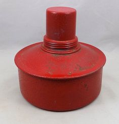 Road Flare, Oil or Kerosene, Truck Safety Flares, Warning Flares, K-S Co 27 Measures 6 1/4 wide and 6 tall, approximately.  Painted red and with a squatty body, this is great piece of travel memorabilia. Kerosene or oil burning road flares. Used for trucks or cars, to warn people of their parking on the road or accidents.  Now a great lamp to use near a Tiki bar, a pool area, driveway, anywhere for a vintage flare to light the way. Or just to display.  Nice fat wicks, Made by K-S Co, this…