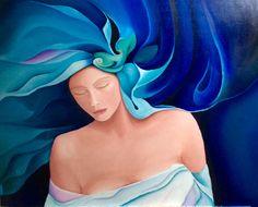 Oilpaint made by Els, 11-10-2016 naar een schilderij van Orestes Bouzon.  Titel: Gedachten komen en gedachten gaan.