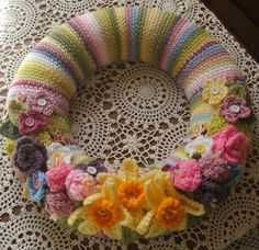 Spring/Easter Wreath with links to flower patterns.