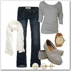I love this because it's simple and totally easy to copy. A simple t-shirt, scarf and jeans with Toms. The perfect Mom outfit.