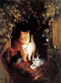 Henriëtte Ronner-Knip (Holanda/Alemania, 1821-1909). Cat with Her Kittens