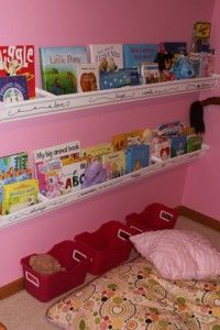 Rain gutter book shelves to put in your childs room - I also had a friend that had gutter lighting up at the top of her bedroom walls for a soft, cool light.. her dad did it.