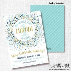 NAVY GOLD CONFETTI oh what fun birthday party invitation first birthday 1st boy aqua blue mint gold glitter confetti invite by misspokadot on Etsy