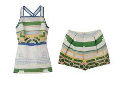 Emilia dress by Tory Burch turns garden design into fabulous fashion; $450 and $195