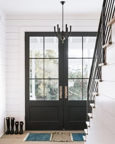 Choosing a French Door For Your Home Black Entry Doors, Double Front Entry Doors, Entry Doors With Glass, Front Door Entrance, Black French Doors, Doorway, Exterior Patio Doors, Double Doors Exterior, Home Depot Doors