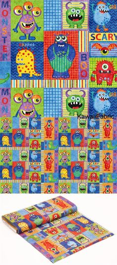 colorful fabric square rectangle monster by Northcott Stonehenge Monsters - Kawaii Fabric Shop Michael Miller, Stonehenge, Halloween Fabric, Textiles, Modes4u, Kawaii, Monster Design, Fabric Squares, Fabric Shop