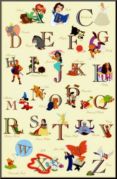The Disney Alphabet Mounted Print at Art.com. Ummmm why is R not Rapunzel and F not Flynn?
