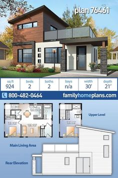 Modern Home Plan Small House Plan 924 sq ft – 2 Bedroom, 2 Bath Contemporary Design This modern home plan has under 1000 square feet of living space and offers 2 bedrooms and two bathrooms. It is a two-story… Continue Reading → Modern Small House Design, Small Modern Home, Contemporary Design, Contemporary Houses, Small Contemporary House Plans, Modern Houses, Contemporary Bathrooms, Unique Small House Plans, Unique Floor Plans