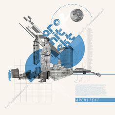 Architect (architekt), collage by Kacper Kiec, via Behance
