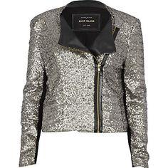 grey sequin biker jacket