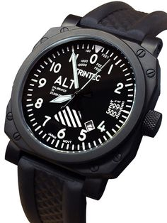 Trintec Zulu-03 Altimeter Automatic Aviator Watch with Black PVD Case #9060VW